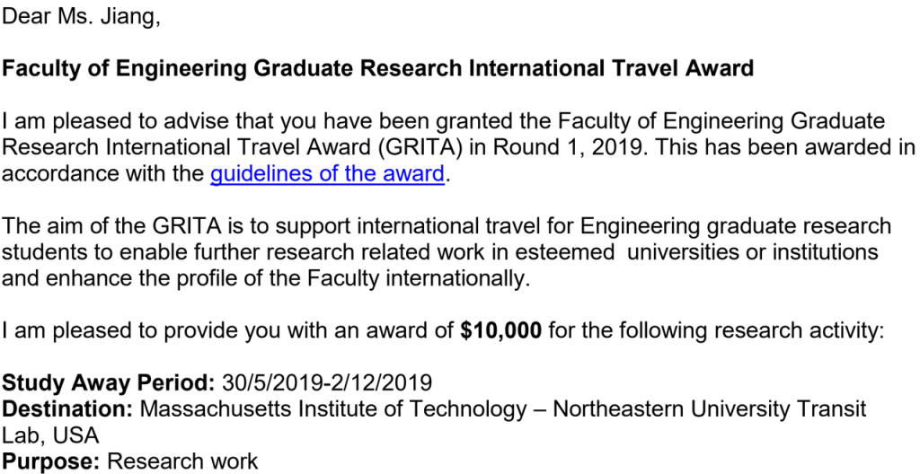 Faculty of Engineering Graduate Research International Travel Award